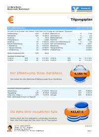 Tilgungsplan Seite 1 - Farbschema Genoba - Ausgabe mit Modul Beratung