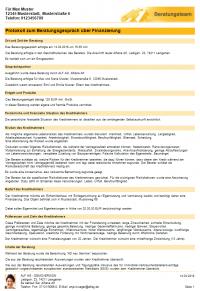 Beispiel eines Beratungsprotokolls - Seite 1